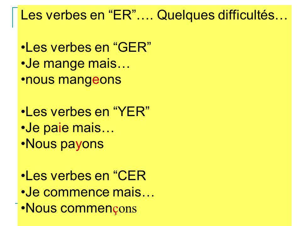 """Les verbes en """"ER""""…. Quelques difficultés… Les verbes en """"GER"""" Je mange mais… nous mangeons Les verbes en """"YER"""" Je paie mais… Nous payons Les verbes e"""