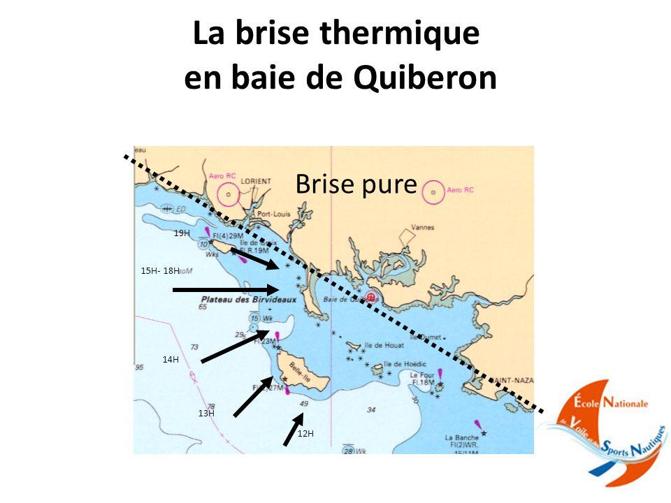La brise thermique en baie de Quiberon 14H 19H 15H- 18H 13H 12H Brise pure