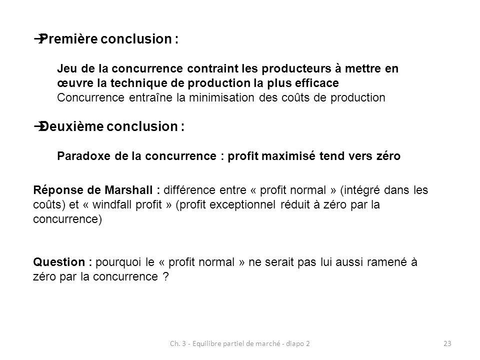 Ch. 3 - Equilibre partiel de marché - diapo 223  Première conclusion : Jeu de la concurrence contraint les producteurs à mettre en œuvre la technique
