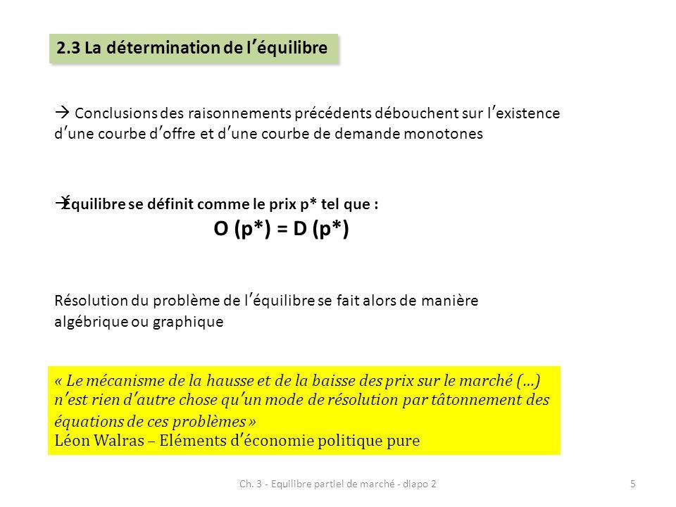  Équilibre se définit comme le prix p* tel que : O (p*) = D (p*)  Conclusions des raisonnements précédents débouchent sur l'existence d'une courbe d