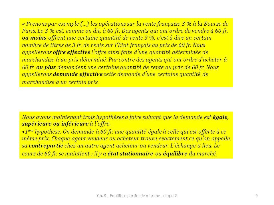 Ch. 3 - Equilibre partiel de marché - diapo 29 « Prenons par exemple (…) les opérations sur la rente française 3 % à la Bourse de Paris. Le 3 % est, c
