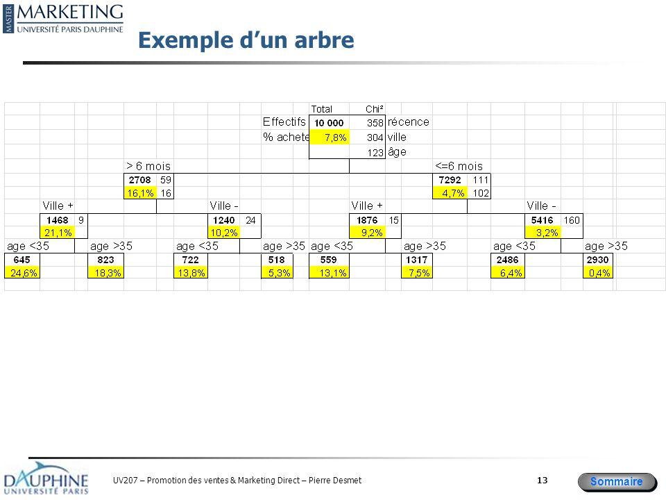 Sommaire UV207 – Promotion des ventes & Marketing Direct – Pierre Desmet Exemple d'un arbre 13