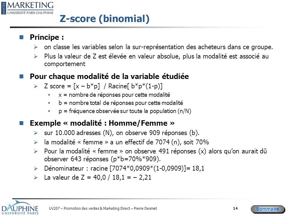 Sommaire UV207 – Promotion des ventes & Marketing Direct – Pierre Desmet Z-score (binomial) Principe :  on classe les variables selon la sur-représentation des acheteurs dans ce groupe.