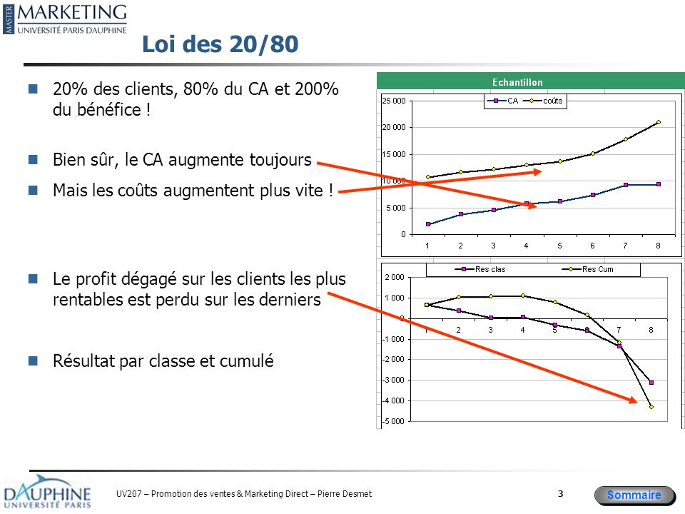 Sommaire UV207 – Promotion des ventes & Marketing Direct – Pierre Desmet Loi des 20/80 20% des clients, 80% du CA et 200% du bénéfice .