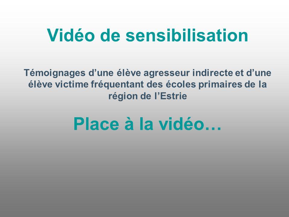 Vidéo de sensibilisation Témoignages d'une élève agresseur indirecte et d'une élève victime fréquentant des écoles primaires de la région de l'Estrie