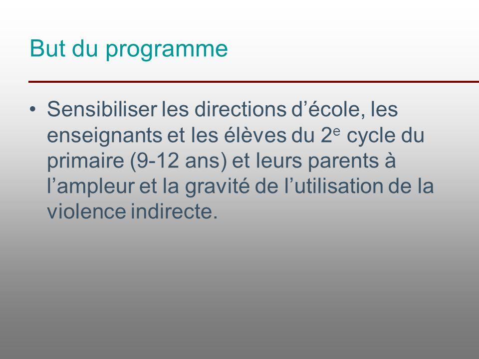 But du programme Sensibiliser les directions d'école, les enseignants et les élèves du 2 e cycle du primaire (9-12 ans) et leurs parents à l'ampleur e