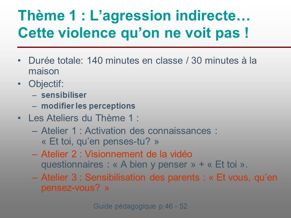 Thème 1 : L'agression indirecte… Cette violence qu'on ne voit pas ! Durée totale: 140 minutes en classe / 30 minutes à la maison Objectif: –sensibilis