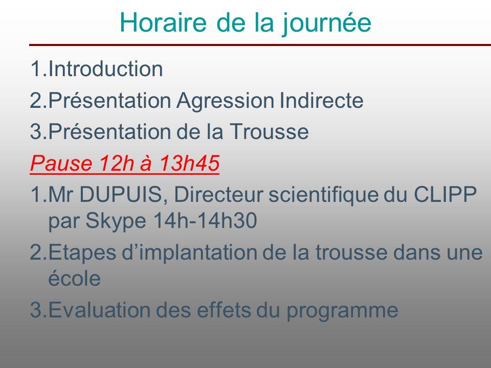 Horaire de la journée 1.Introduction 2.Présentation Agression Indirecte 3.Présentation de la Trousse Pause 12h à 13h45 1.Mr DUPUIS, Directeur scientif