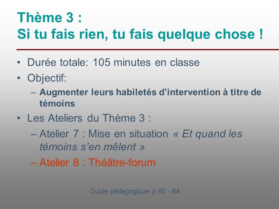 Thème 3 : Si tu fais rien, tu fais quelque chose ! Durée totale: 105 minutes en classe Objectif: –Augmenter leurs habiletés d'intervention à titre de