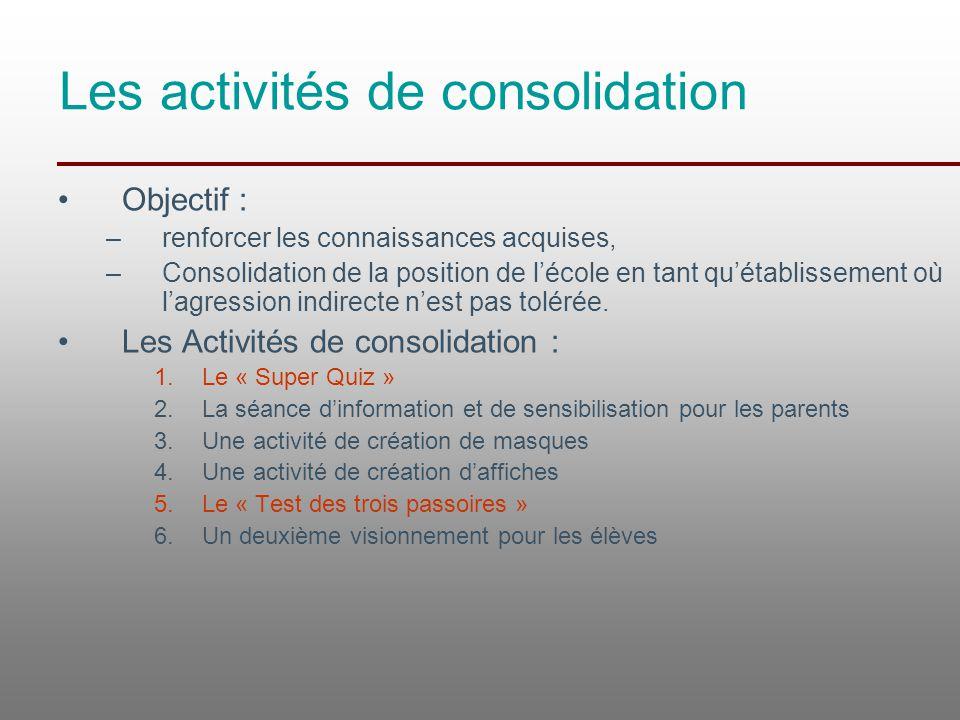 Les activités de consolidation Objectif : –renforcer les connaissances acquises, –Consolidation de la position de l'école en tant qu'établissement où