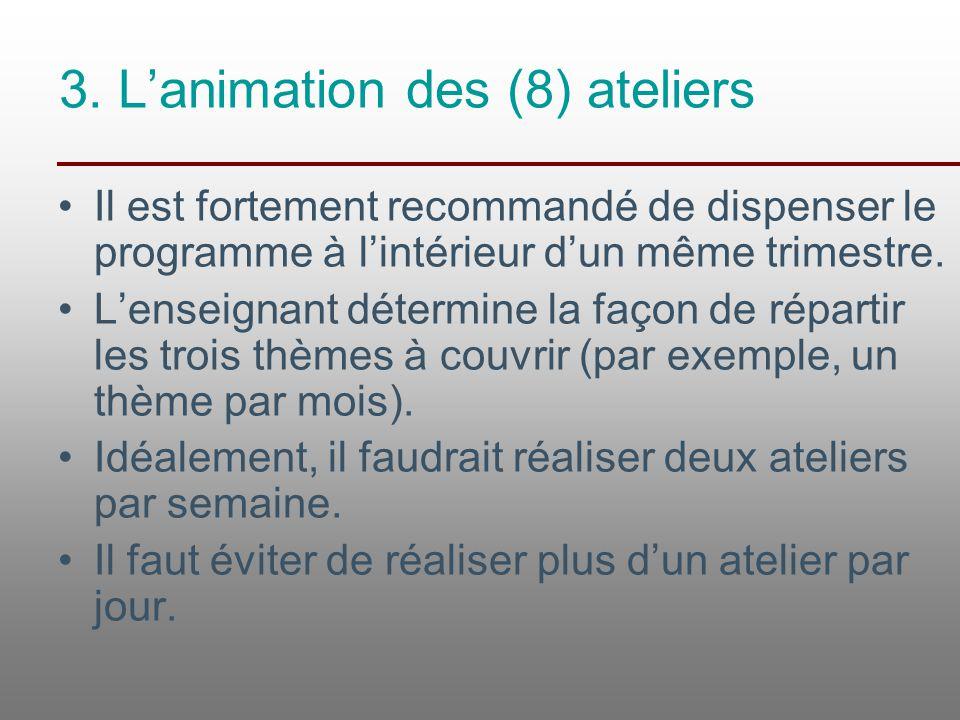 3. L'animation des (8) ateliers Il est fortement recommandé de dispenser le programme à l'intérieur d'un même trimestre. L'enseignant détermine la faç