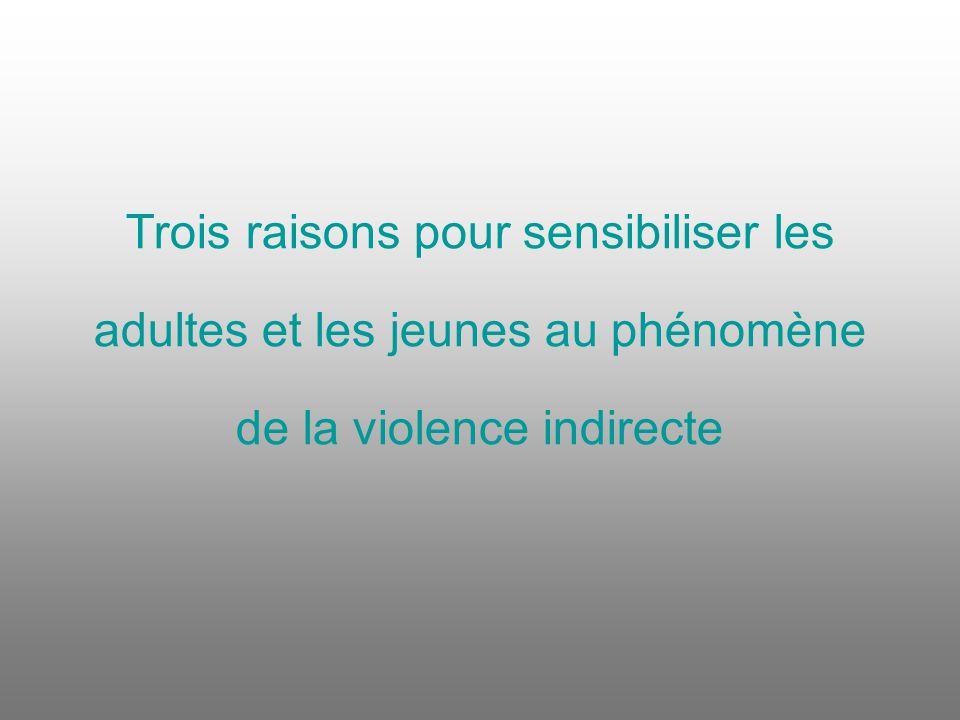 Trois raisons pour sensibiliser les adultes et les jeunes au phénomène de la violence indirecte