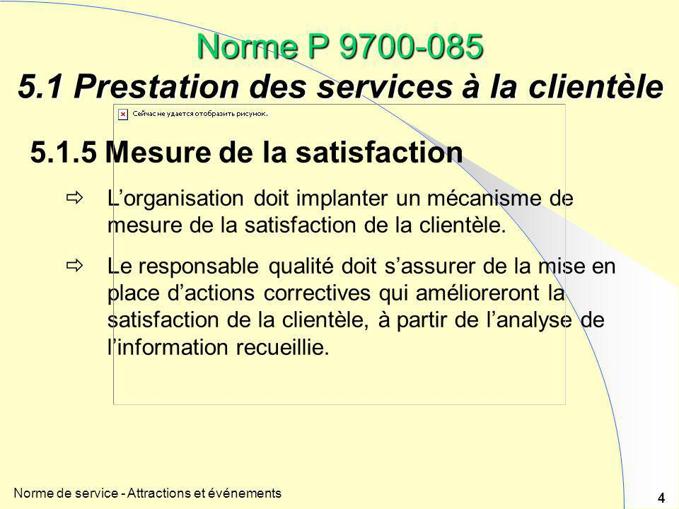 Norme de service - Attractions et événements 4 5.1.5 Mesure de la satisfaction  L'organisation doit implanter un mécanisme de mesure de la satisfacti
