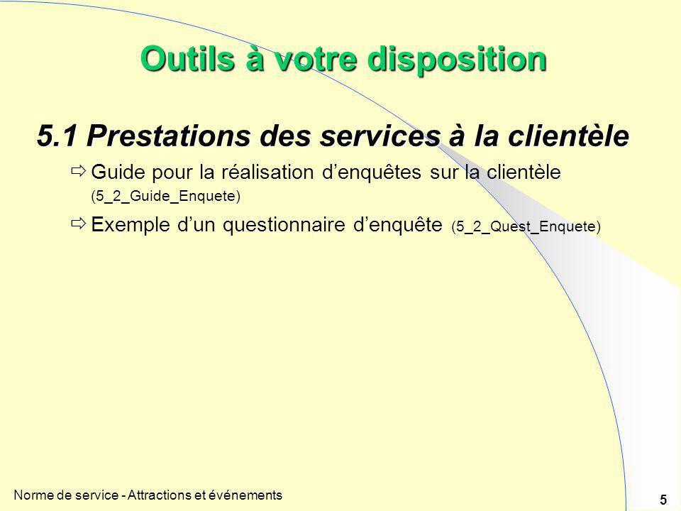 Norme de service - Attractions et événements 5 5.1 Prestations des services à la clientèle  Guide pour la réalisation d'enquêtes sur la clientèle (5_