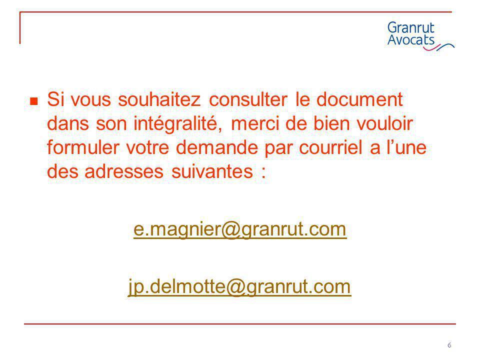 6 Si vous souhaitez consulter le document dans son intégralité, merci de bien vouloir formuler votre demande par courriel a l'une des adresses suivant