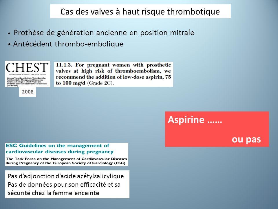 Pas d'adjonction d'acide acétylsalicylique Pas de données pour son efficacité et sa sécurité chez la femme enceinte Cas des valves à haut risque thrombotique Prothèse de génération ancienne en position mitrale Antécédent thrombo-embolique Aspirine …… ou pas 2008
