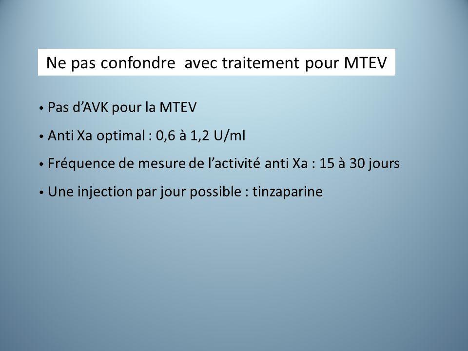 Pas d'AVK pour la MTEV Anti Xa optimal : 0,6 à 1,2 U/ml Fréquence de mesure de l'activité anti Xa : 15 à 30 jours Une injection par jour possible : tinzaparine Ne pas confondre avec traitement pour MTEV