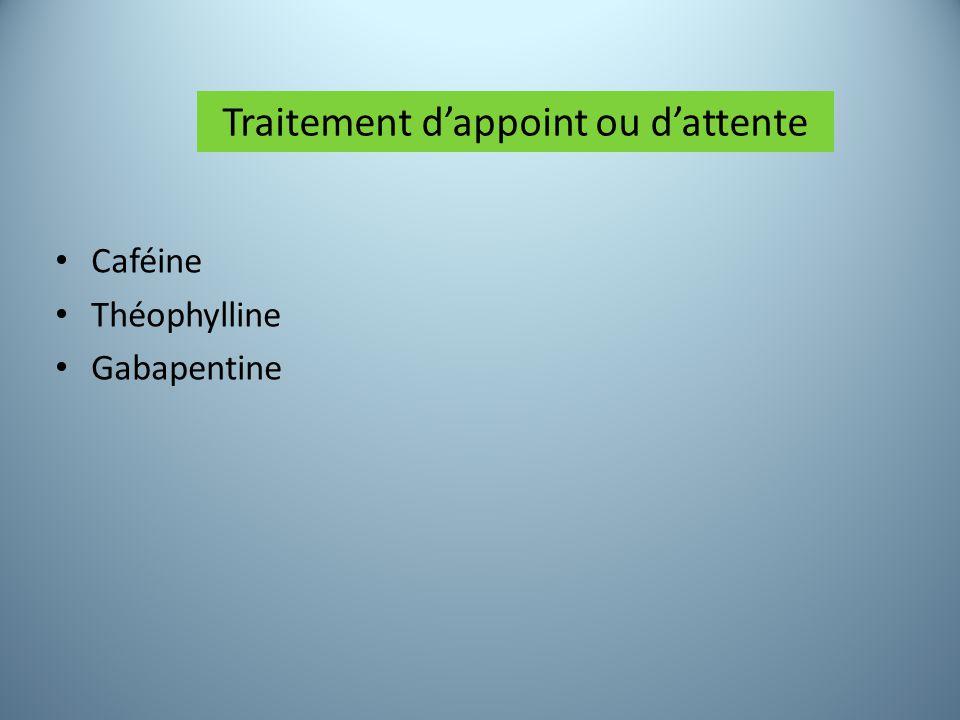 Caféine Théophylline Gabapentine Traitement d'appoint ou d'attente