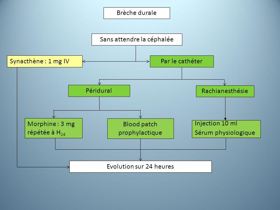 Brèche durale Sans attendre la céphalée Péridural Rachianesthésie Synacthène : 1 mg IVPar le cathéter Injection 10 ml Sérum physiologique Evolution sur 24 heures Morphine : 3 mg répétée à H 24 Blood patch prophylactique