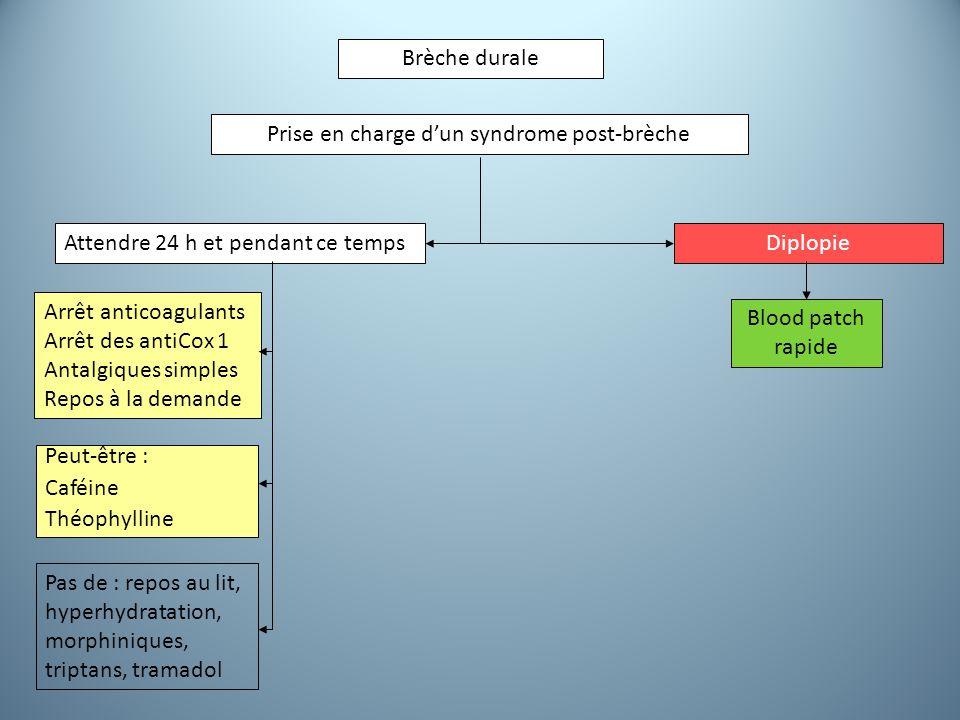 Brèche durale Prise en charge d'un syndrome post-brèche Attendre 24 h et pendant ce tempsDiplopie Blood patch rapide Arrêt anticoagulants Arrêt des an
