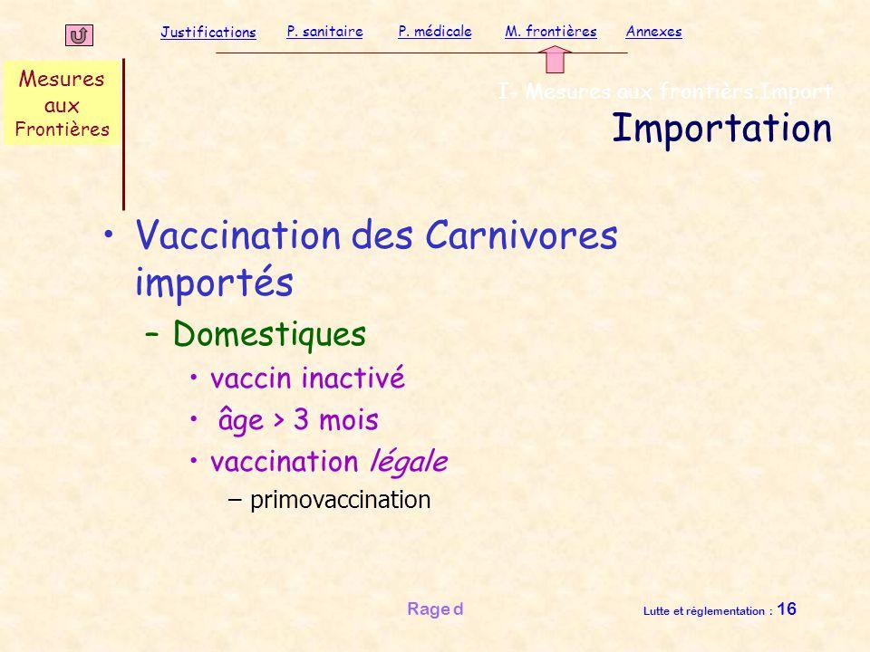 Justifications P. sanitaireP. médicaleAnnexesM. frontières Rage d Lutte et réglementation : 16 Vaccination des Carnivores importés –Domestiques vaccin