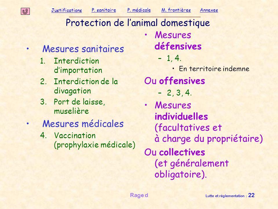 Justifications P. sanitaireP. médicaleAnnexesM. frontières Rage d Lutte et réglementation : 22 Protection de l'animal domestique Mesures sanitaires 1.