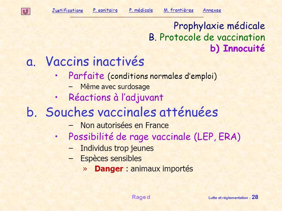 Justifications P. sanitaireP. médicaleAnnexesM. frontières Rage d Lutte et réglementation : 28 Prophylaxie médicale B. Protocole de vaccination b) Inn