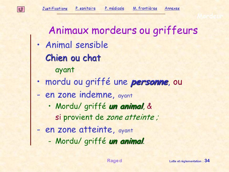 Justifications P. sanitaireP. médicaleAnnexesM. frontières Rage d Lutte et réglementation : 34 Mordeur Animal sensible Chien ou chat Chien ou chat aya