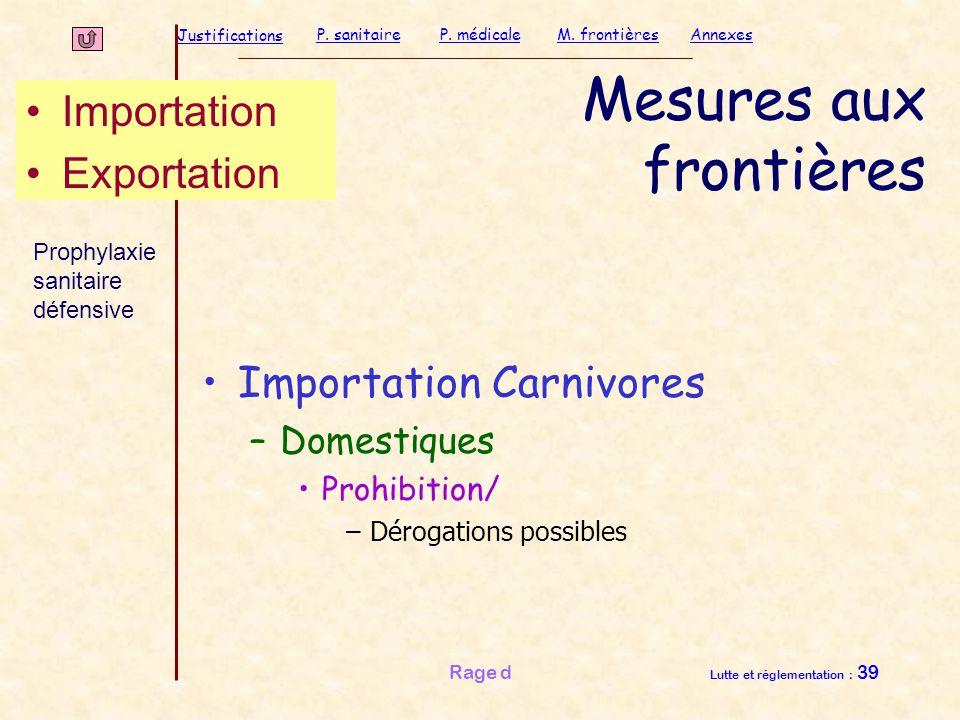 Justifications P. sanitaireP. médicaleAnnexesM. frontières Rage d Lutte et réglementation : 39 Mesures aux frontières Importation Carnivores –Domestiq