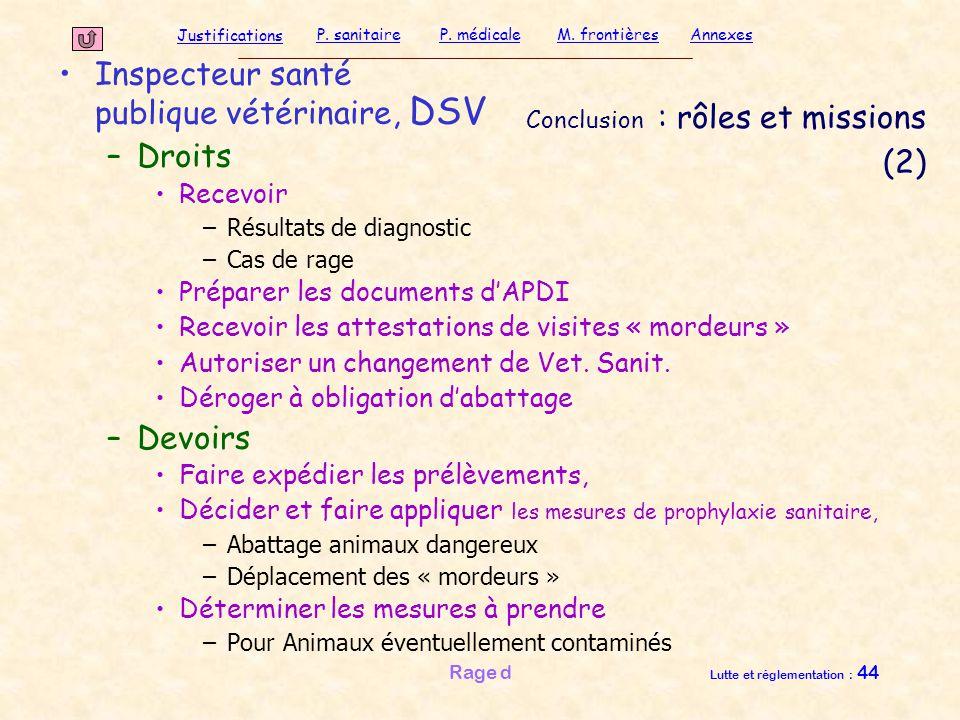 Justifications P. sanitaireP. médicaleAnnexesM. frontières Rage d Lutte et réglementation : 44 Conclusion : rôles et missions (2) Inspecteur santé pub