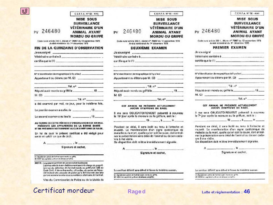 Justifications P. sanitaireP. médicaleAnnexesM. frontières Rage d Lutte et réglementation : 46 Certificat mordeur