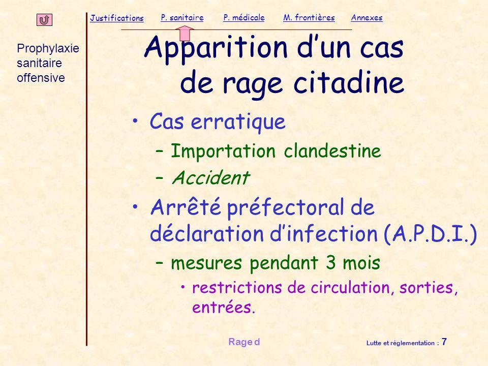 Justifications P. sanitaireP. médicaleAnnexesM. frontières Rage d Lutte et réglementation : 7 Apparition d'un cas de rage citadine Cas erratique –Impo