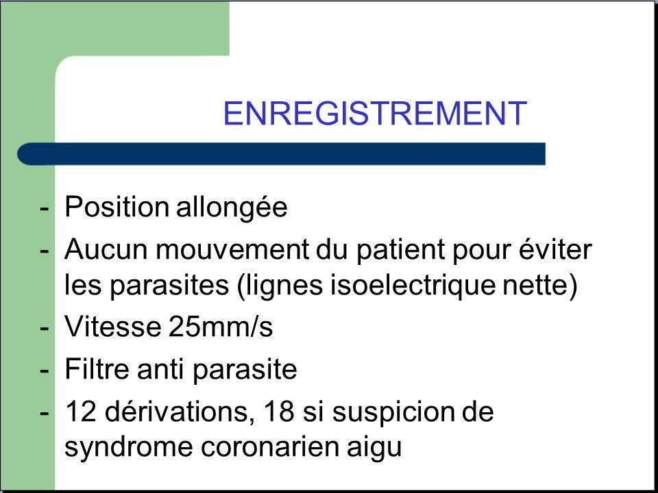 ENREGISTREMENT -Position allongée -Aucun mouvement du patient pour éviter les parasites (lignes isoelectrique nette) -Vitesse 25mm/s -Filtre anti para