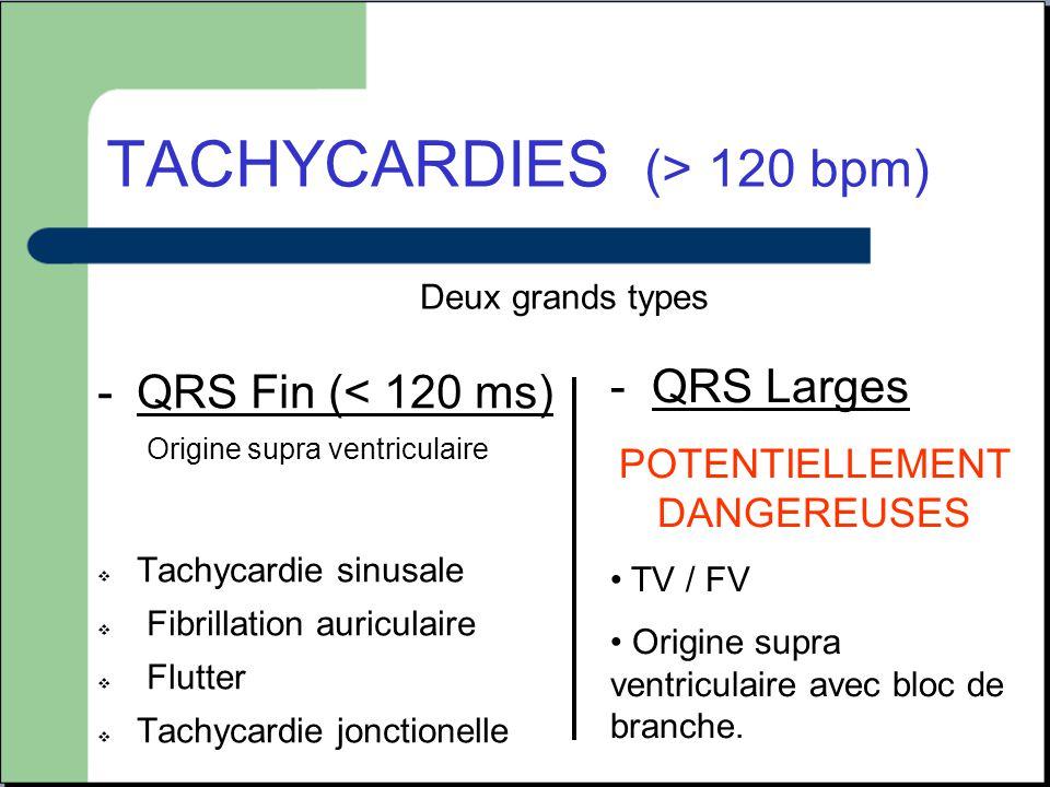 TACHYCARDIES (> 120 bpm) -QRS Fin (< 120 ms) Origine supra ventriculaire  Tachycardie sinusale  Fibrillation auriculaire  Flutter  Tachycardie jon