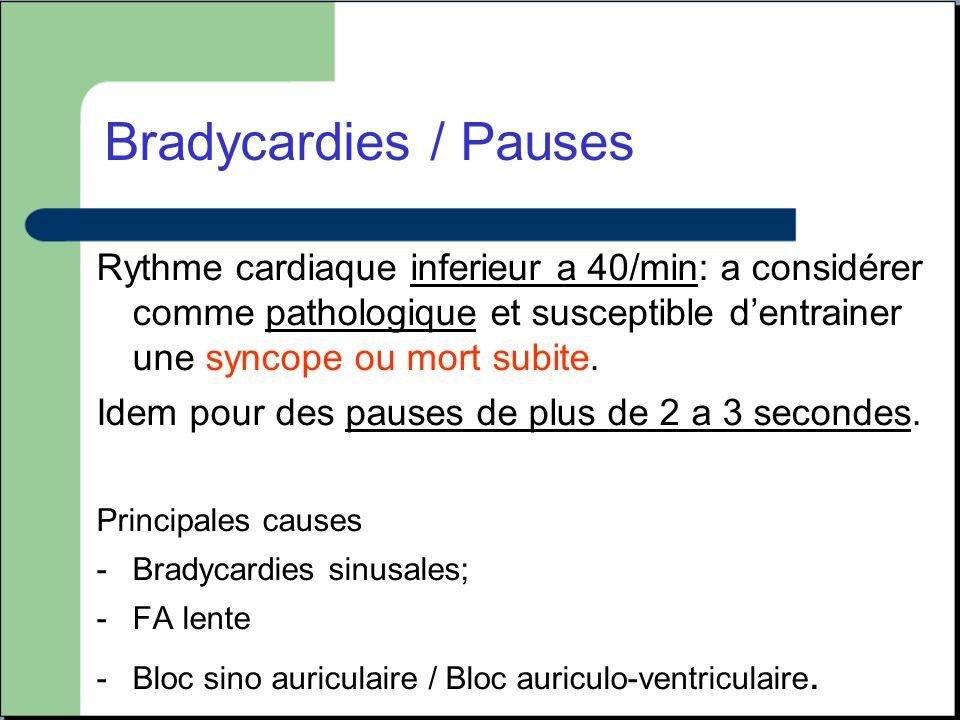 Rythme cardiaque inferieur a 40/min: a considérer comme pathologique et susceptible d'entrainer une syncope ou mort subite. Idem pour des pauses de pl