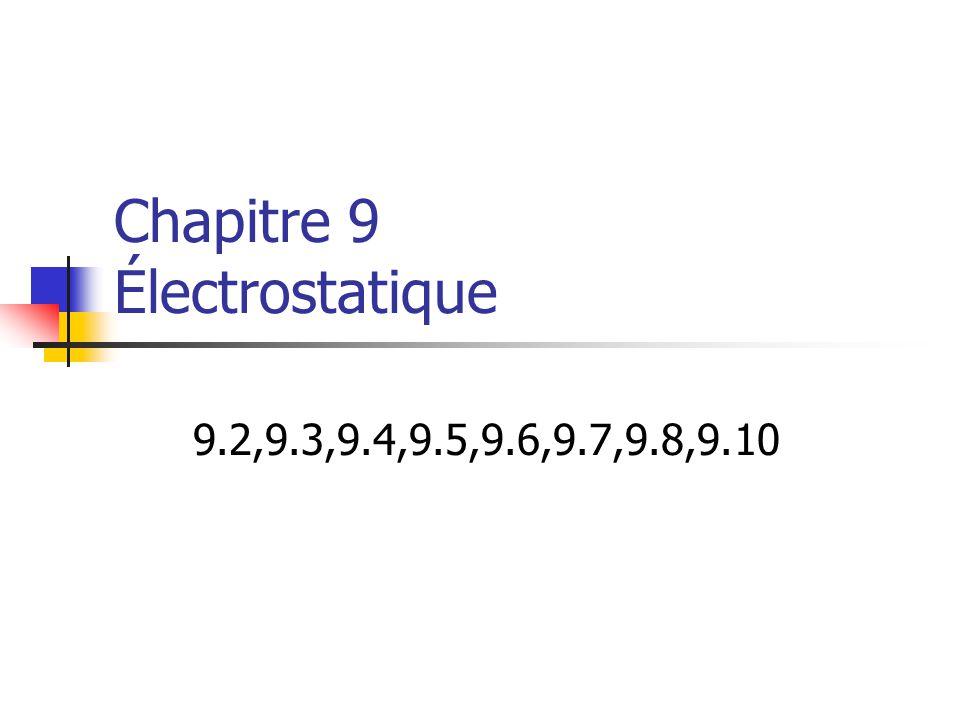 Chapitre 9 Électrostatique 9.2,9.3,9.4,9.5,9.6,9.7,9.8,9.10