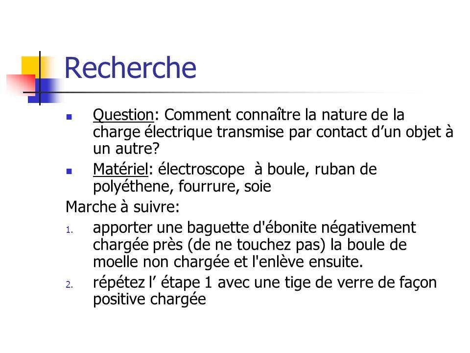 Recherche Question: Comment connaître la nature de la charge électrique transmise par contact d'un objet à un autre.