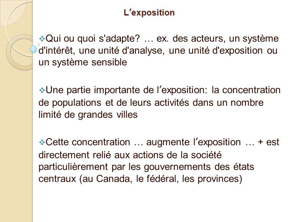 L'exposition  Qui ou quoi s'adapte? … ex. des acteurs, un système d'intérêt, une unité d'analyse, une unité d'exposition ou un système sensible  Une