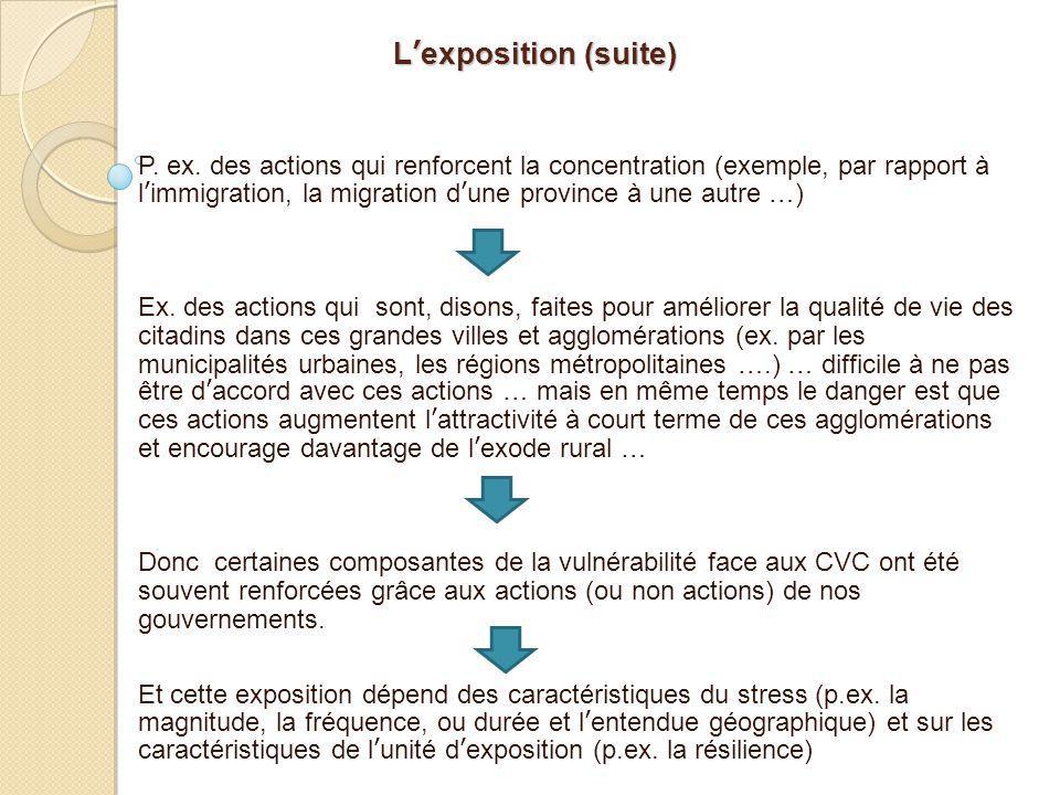 L'exposition (suite) P. ex. des actions qui renforcent la concentration (exemple, par rapport à l'immigration, la migration d'une province à une autre