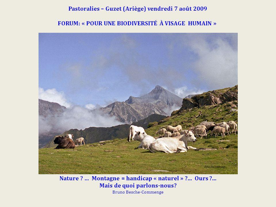 Pastoralies – Guzet (Ariège) vendredi 7 août 2009 FORUM: « POUR UNE BIODIVERSITÉ À VISAGE HUMAIN » Nature ? … Montagne = handicap « naturel » ?... Our