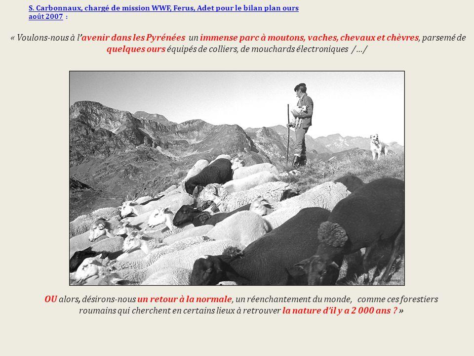 S. Carbonnaux, chargé de mission WWF, Ferus, Adet pour le bilan plan ours août 2007 : « Voulons-nous à l'avenir dans les Pyrénées un immense parc à mo