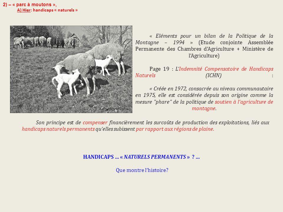 « Eléments pour un bilan de la Politique de la Montagne – 1994 » (Etude conjointe Assemblée Permanente des Chambres d'Agriculture + Ministère de l'Agr