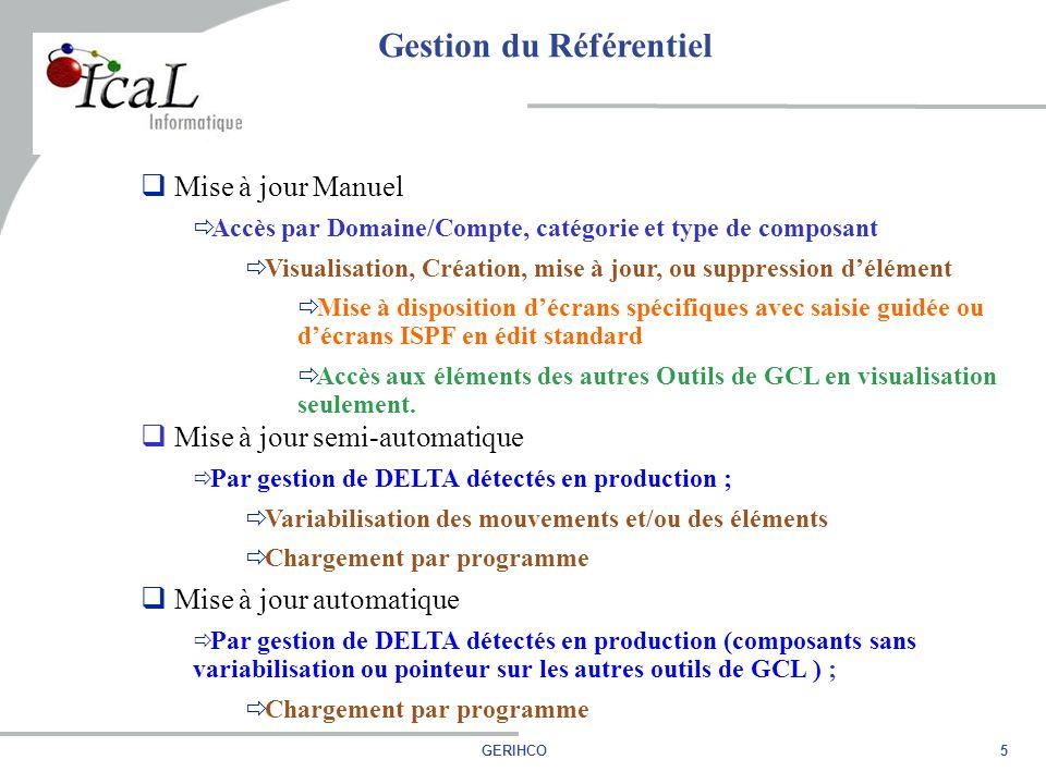 5GERIHCO  Mise à jour Manuel  Accès par Domaine/Compte, catégorie et type de composant  Visualisation, Création, mise à jour, ou suppression d'élément  Mise à disposition d'écrans spécifiques avec saisie guidée ou d'écrans ISPF en édit standard  Accès aux éléments des autres Outils de GCL en visualisation seulement.