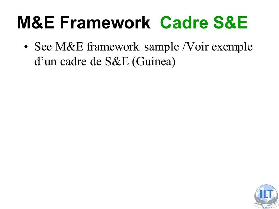 M&E Framework Cadre S&E See M&E framework sample /Voir exemple d'un cadre de S&E (Guinea)