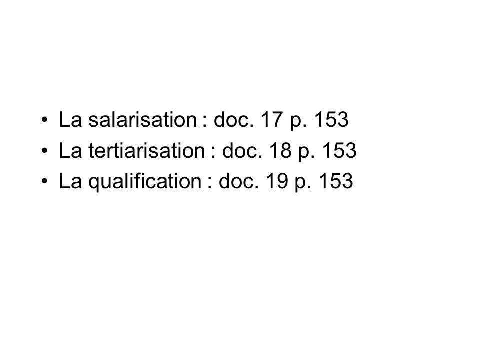 La salarisation : doc. 17 p. 153 La tertiarisation : doc. 18 p. 153 La qualification : doc. 19 p. 153