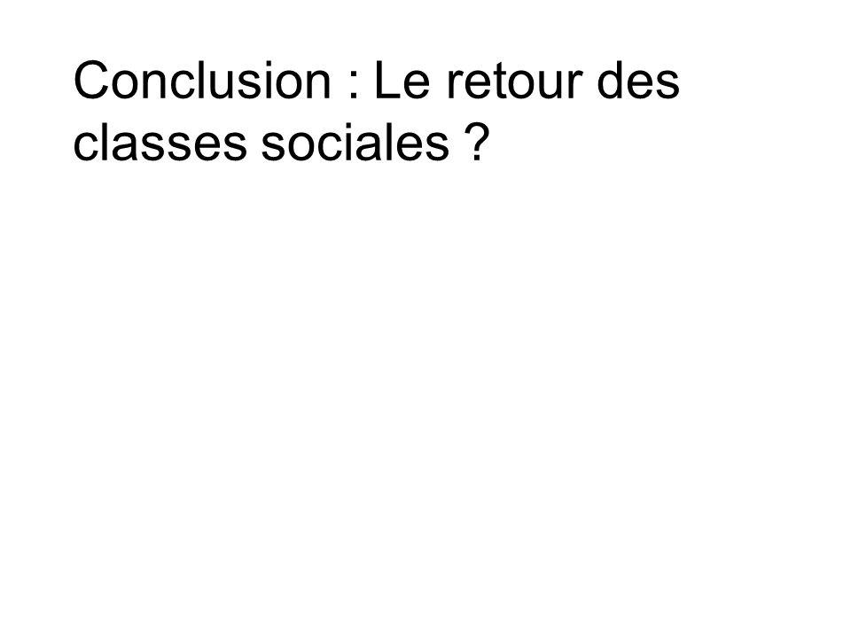 Conclusion : Le retour des classes sociales ?