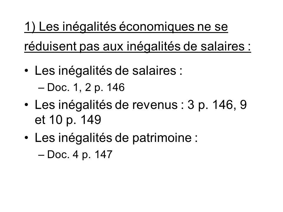 1) Les inégalités économiques ne se réduisent pas aux inégalités de salaires : Les inégalités de salaires : –Doc. 1, 2 p. 146 Les inégalités de revenu