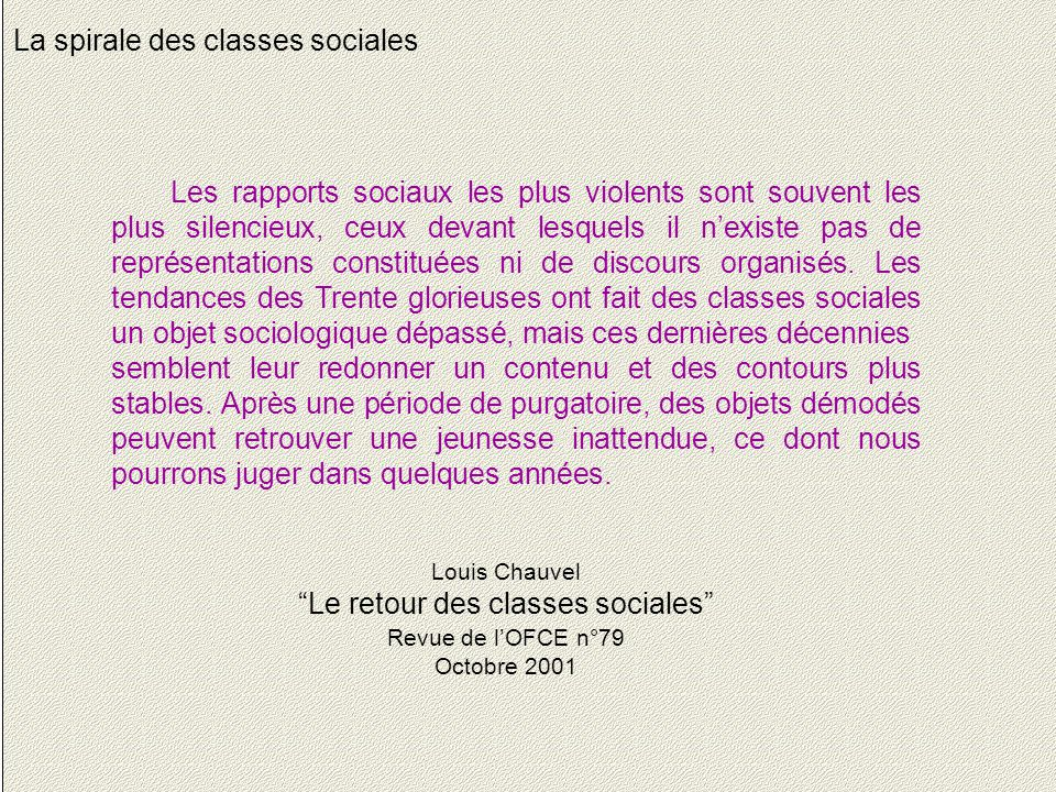 28 La spirale des classes sociales Les rapports sociaux les plus violents sont souvent les plus silencieux, ceux devant lesquels il n'existe pas de représentations constituées ni de discours organisés.