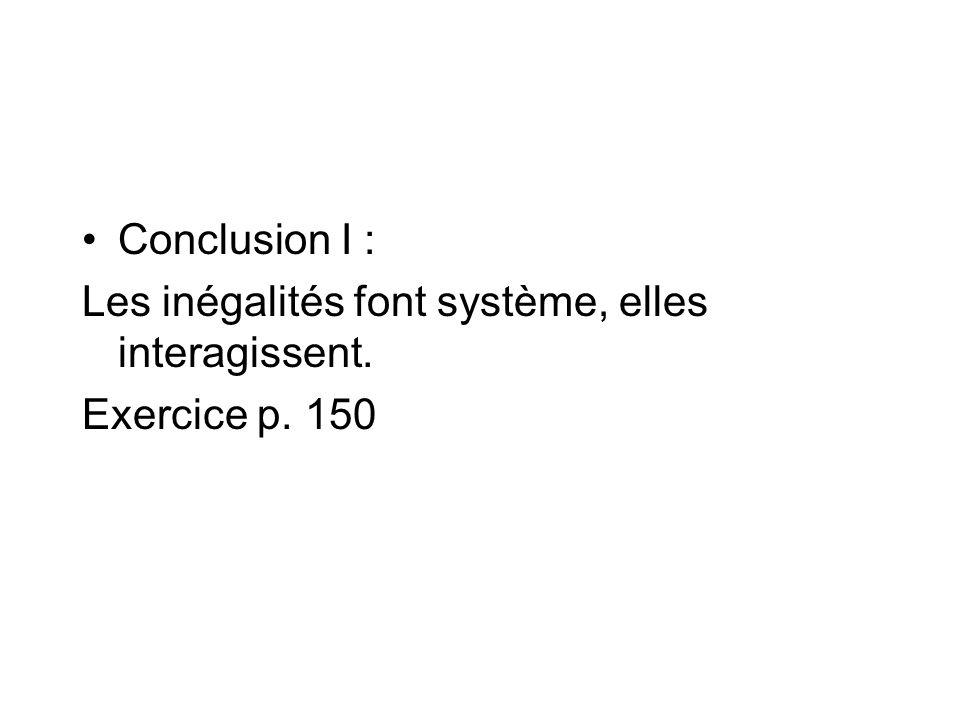 Conclusion I : Les inégalités font système, elles interagissent. Exercice p. 150