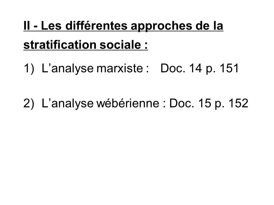 II - Les différentes approches de la stratification sociale : 1)L'analyse marxiste :Doc. 14 p. 151 2)L'analyse wébérienne : Doc. 15 p. 152